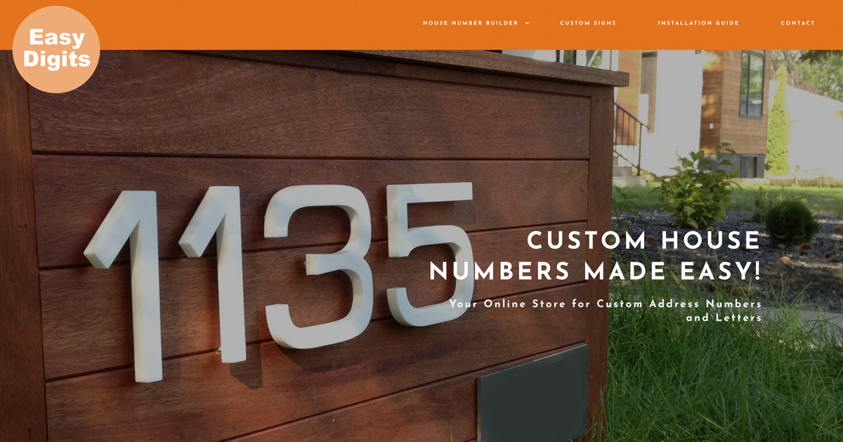 Easy Digits | Custom House Numbers | Free Shipping across